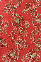Fabric - See-through Embroidery Gauze w/ Paillettes (Red)