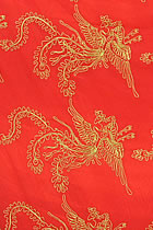 Fabric - Golden Phoenix See-through Embroidery Gauze (Red)