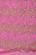 面料 - 透視繡花網紗鑲亮片(粉紅)