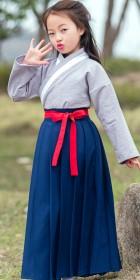 女童漢朝棉麻曲裾