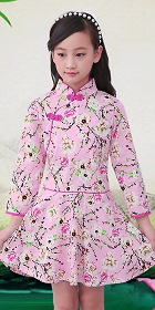 Girl's Long-sleeve Floral Cheongsam Dress (RM)