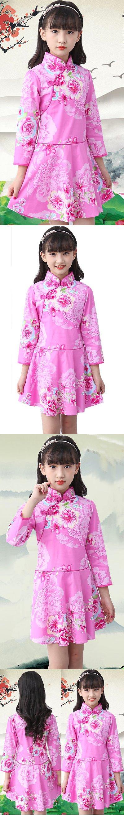 Girl's Long-sleeve Floral Cheongsam Dress (RM)