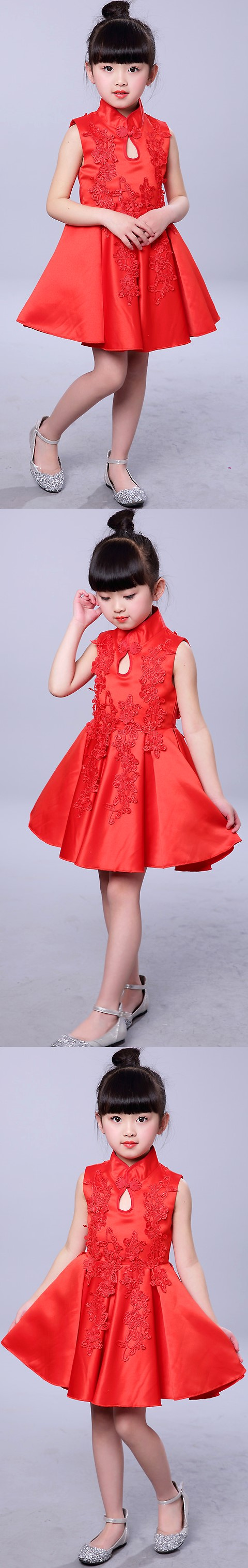 Girl's Floral Applique Cheongsam Dress (RM)