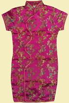 Bargain - Girl's Morning Glory Cheongsam Dress (Medium Violet Red)
