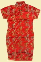 Bargain - Girl's Morning Glory Cheongsam Dress (Red)