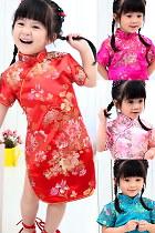 女童茶花旗袍