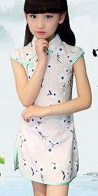 Bargain - Girl's Floral Cotton Cheongsam Dress (RM)