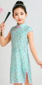 女童印花棉布旗袍 (成衣)