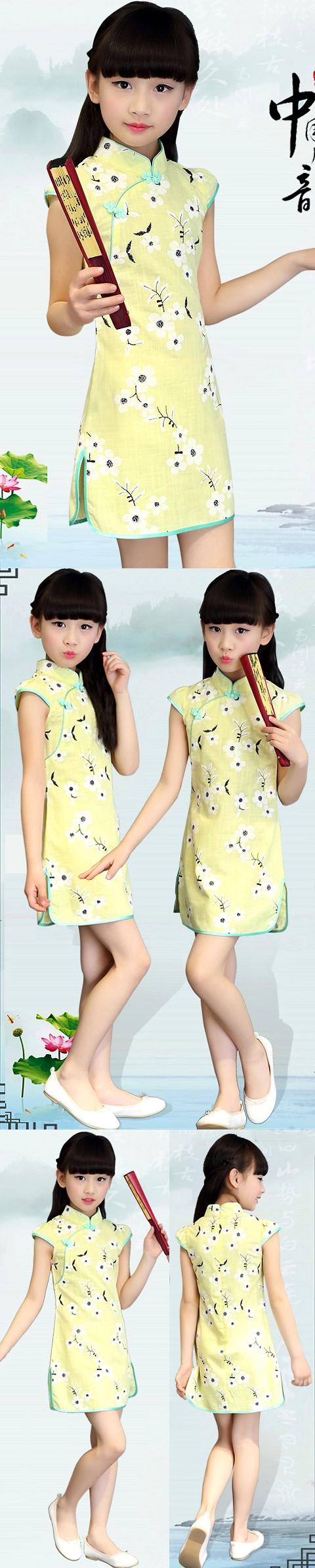 Girl's Floral Cotton Cheongsam Dress (RM)