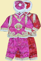 Bargain - Girl's Brocade Wadded Mandarin Suit w/ Hat (Fuchsia)