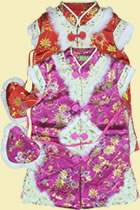 Girl's Brocade Wadded Mandarin Vest w/ Mini Bag (RM)