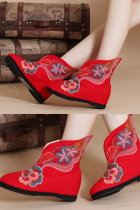 Low Heel Floral Embroidery Mid Height Boots (Red)