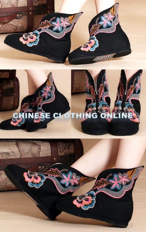 低跟綢緞繡花靴(黑色)