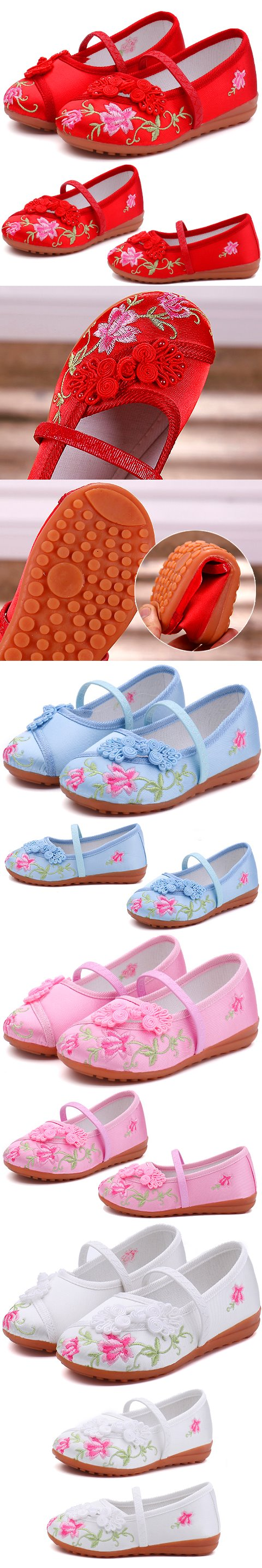 Girl's Flower Embroidery Shoes (Multi-color)