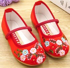 Bargain - Girl's Flower Embroidery Shoes (Red)