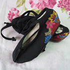 Girl's Embroidery Linen Shoes w/ Lace (Multicolor)
