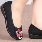低跟京劇面譜繡花鞋(黑色)