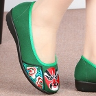 Low Heel Opera Mask Embroidery Shoes (Green)
