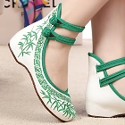 Mid Heel Bamboo Embroidery Shoes (Green)
