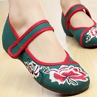 Low Heel Flower Embroidery Shoes (Green)