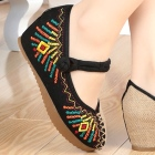 Mid Heel Abstract-pattern Embroidery Shoes (Black)
