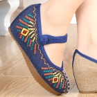 Mid Heel Abstract-pattern Embroidery Shoes (Blue)