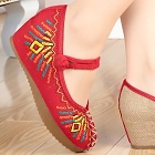 Mid Heel Abstract-pattern Embroidery Shoes (Red)