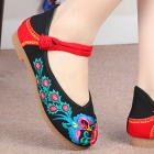 Low Heel Flower Embroidery Shoes (Black)