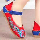 Low Heel Flower Embroidery Shoes (Red)
