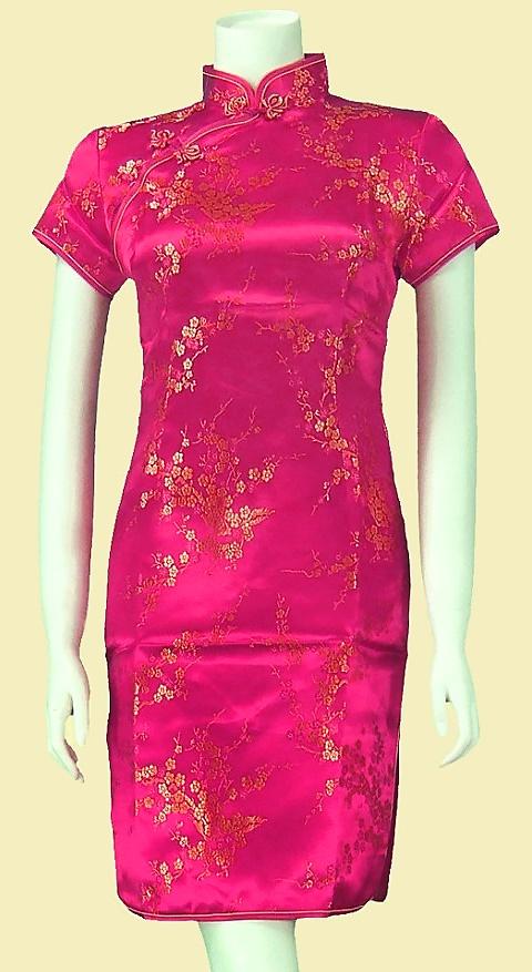 Bargain - Short-sleeve Short Brocade Cheongsam Dress - Fuchsia