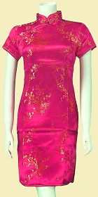 Bargain - Short-sleeve Short Brocade Cheongsam Dress - Fuchsia