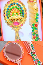 Archaic Style Peacock Mirror and Comb Set