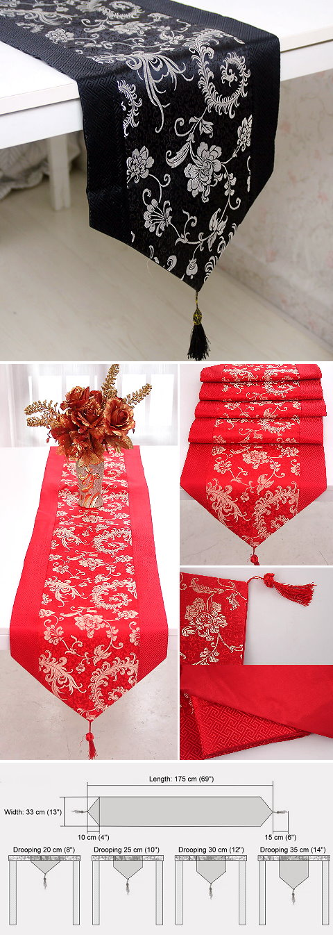 Chinese Ethnic Phoenix Tail Embroidery Table Runner (RM)