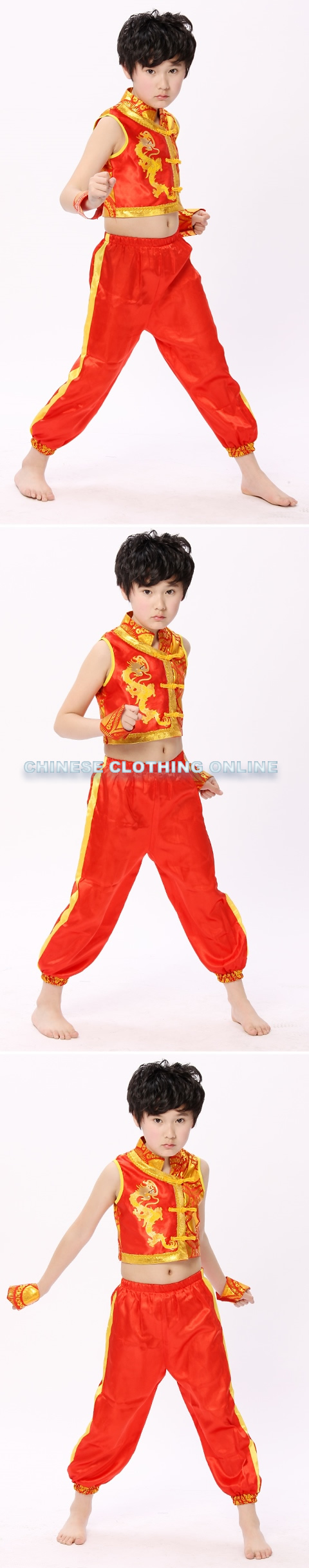 Kid's Dragon Embroidery Kung Fu Suit (RM)