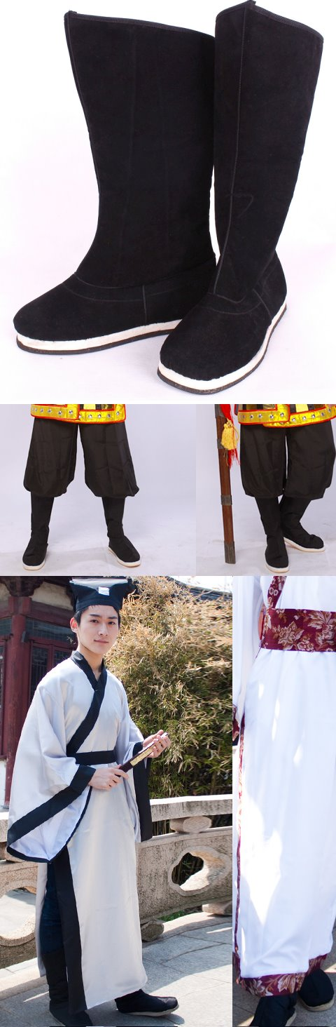 Archaic Han Style Cloth Boots w/ Rubber sole