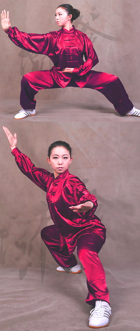 Professional Taichi Kungfu Uniform with Pants - Korean Silk - Burgundy (RM)