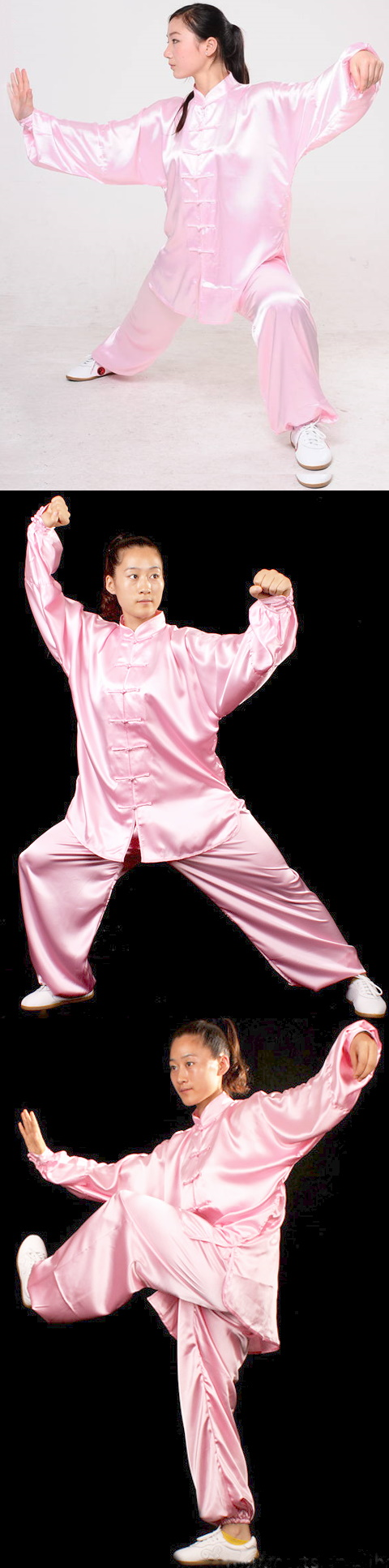 Professional Taichi Kungfu Uniform with Pants - Korean Silk - Pink (RM)