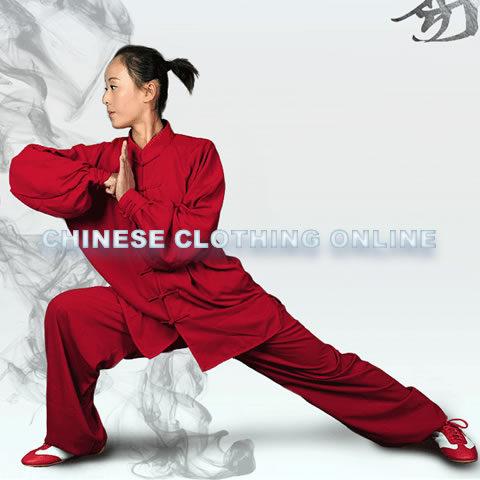Professional Taichi Kungfu Uniform with Pants - Cotton/Silk - Dark Red (RM)