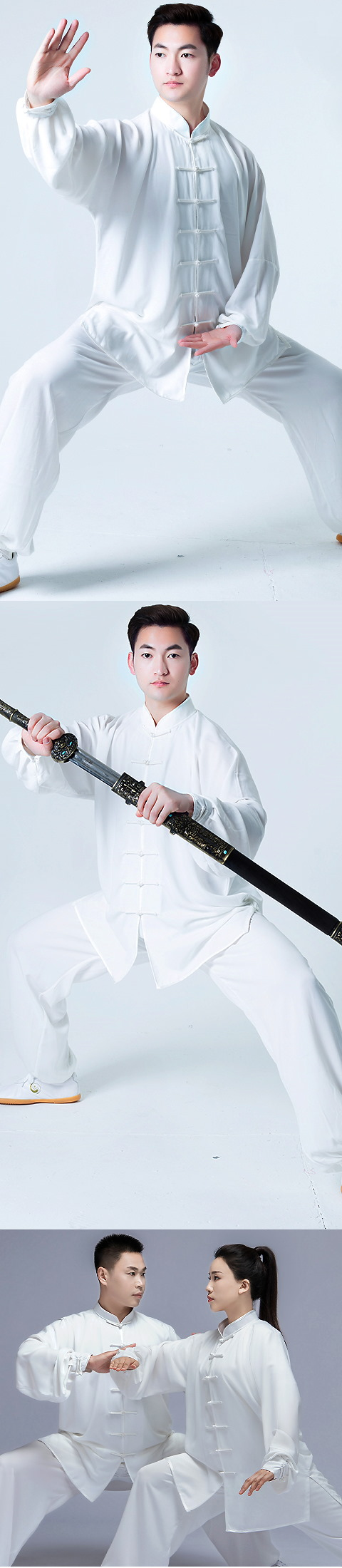 Professional Taichi Kungfu Uniform with Pants - Cotton/Silk - White (RM)