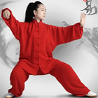 Professional Taichi Kungfu Uniform with Pants - Cotton/Silk - Red (RM)