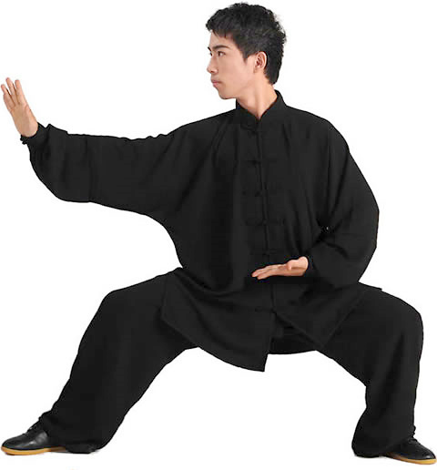Professional Taichi Kungfu Uniform with Pants - Jiajia Cotton - Black (RM)