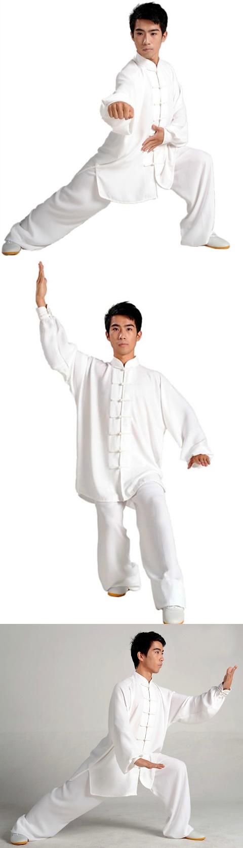 Professional Taichi Kungfu Uniform with Pants - Jiajia Cotton - White (RM)