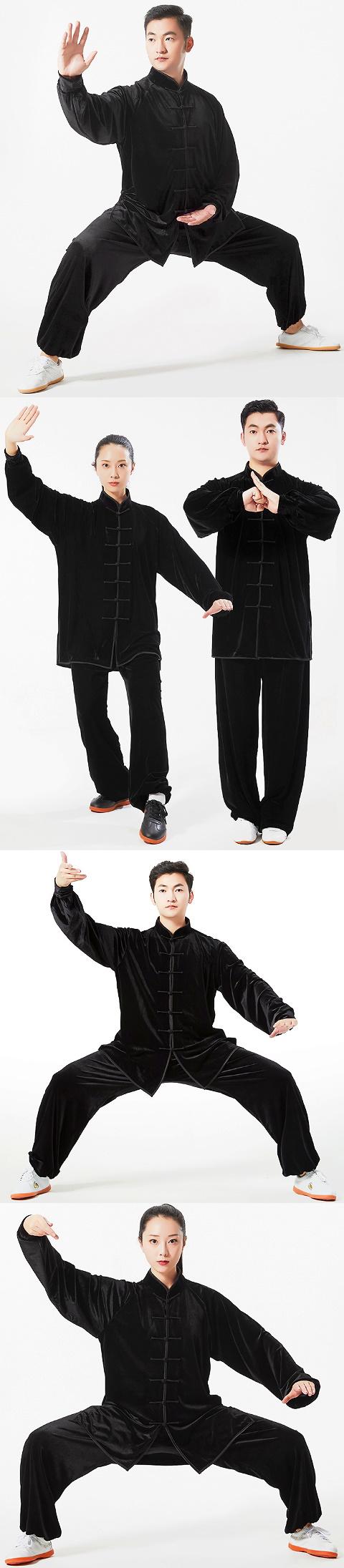 Professional Taichi Kungfu Uniform with Pants - Velvet - Black (RM)