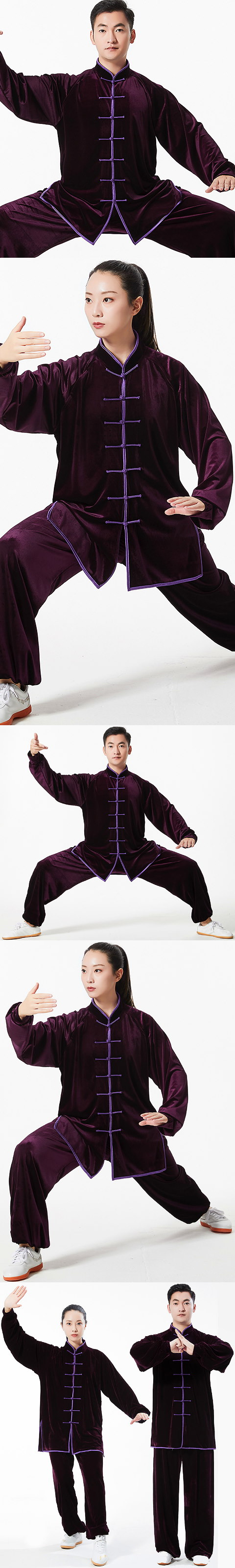Professional Taichi Kungfu Uniform with Pants - Velvet - Purple (RM)