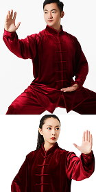 Professional Taichi Kungfu Uniform with Pants - Velvet - Maroon (RM)