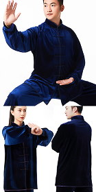 Professional Taichi Kungfu Uniform with Pants - Velvet - Navy (RM)
