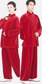 Professional Taichi Kungfu Uniform with Pants - Velvet - Rusty Red (RM)