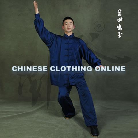 Professional Taichi Kungfu Uniform with Pants - Silk Fibroin Satin - Dark Blue (RM)