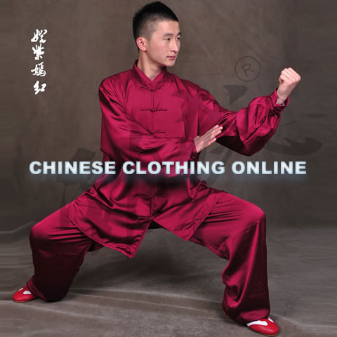 Professional Taichi Kungfu Uniform with Pants - Silk Fibroin Satin - Medium Violet Red (RM)