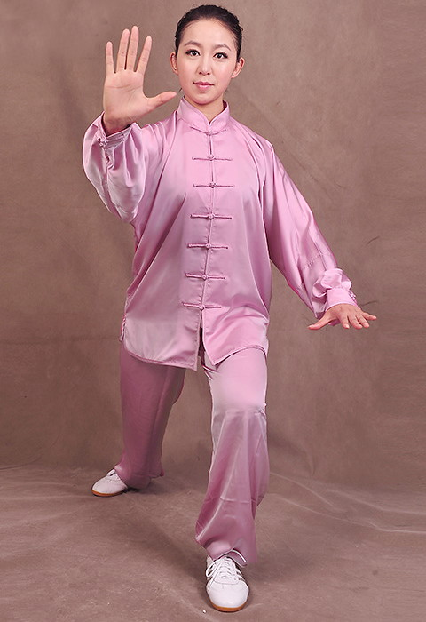 Professional Taichi Kungfu Uniform with Pants - Silk Fibroin Satin - Violet (RM)